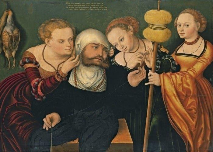 """Hércules en la corte de Onfalia"""" (HansCranach)"""