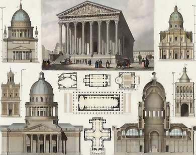 Fachada y planta de la nave de la iglesia de la Madeleine