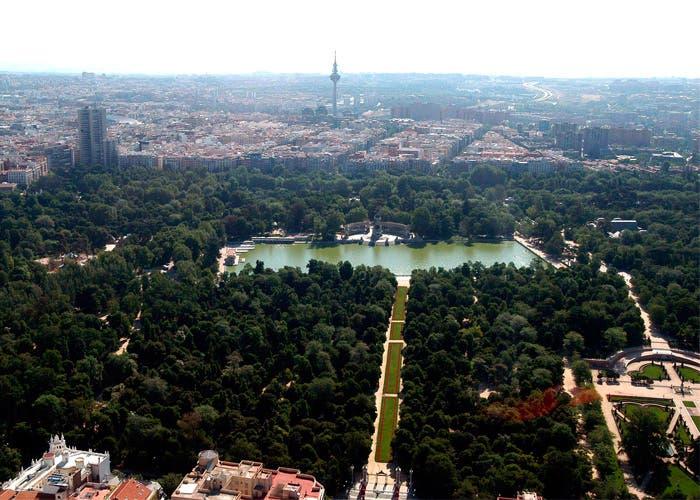 Vista desde arriba del parque del Retiro en Madrid