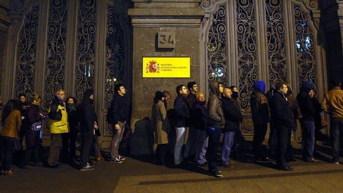 Justo delante del Ministerio de Cultura