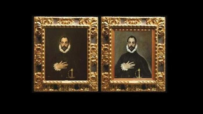Antes y después de la restauración del cuadro del Caballero de la mano en el pecho