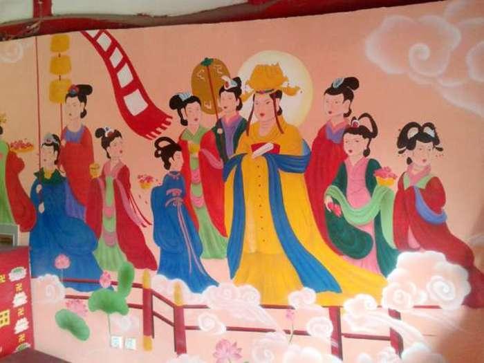 Detalle de los frescos del templo budista de Yunjie (Chaoyang)