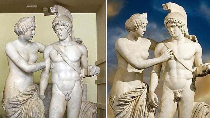 Antes y después de la restauración del complejo escultórico de Marte y venus