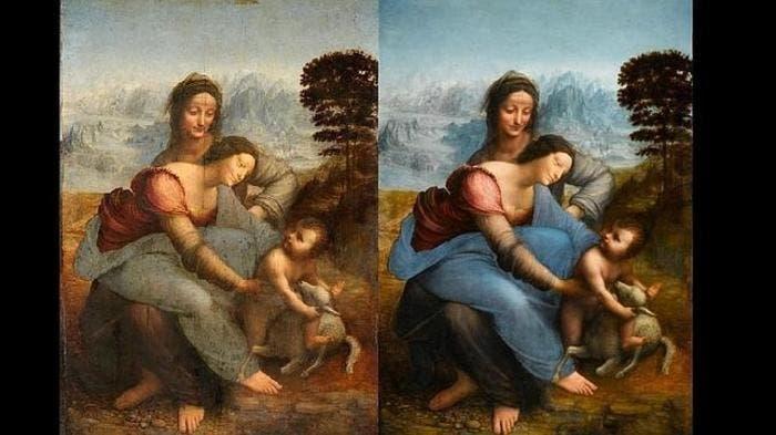 Antes y después de la restauración del cuadro de La Virgen, el Niño Jesús y Santa Ana