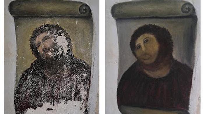Antes y después de la restauración del Ecce Homo de Borja