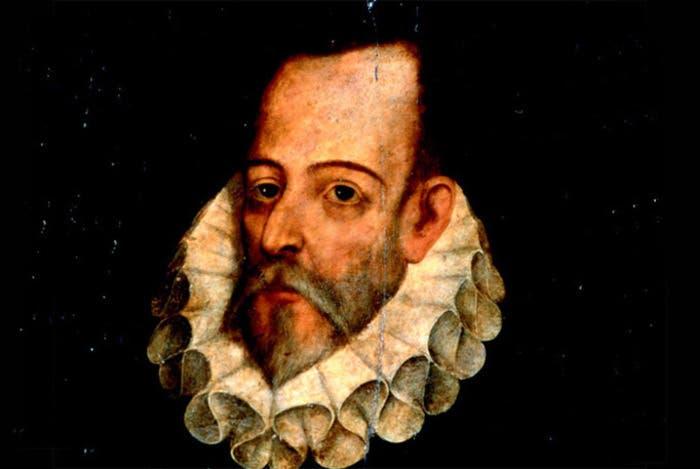 Retrato del escritor español Miguel de Cervantes