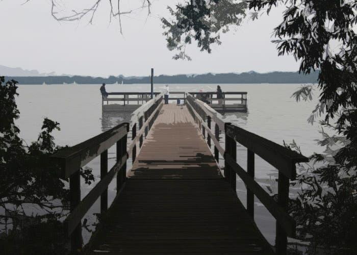 Perspectiva del camino al lago